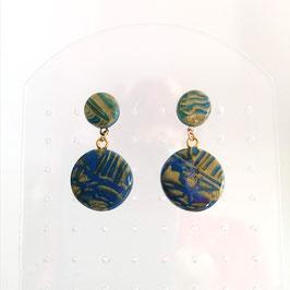 Boucles Pastilles Bleu & Or