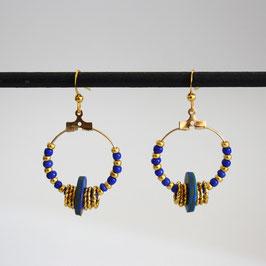 Créoles Anneaux Bleu saphir & Doré