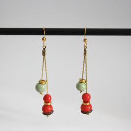 Boucles Serpentines Corail & Vert amande