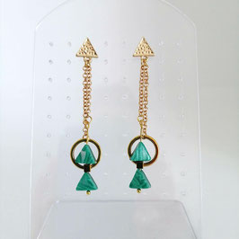 Boucles Triangles Vert & Or