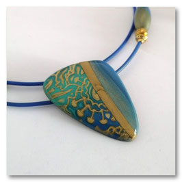 Collier Ellipse Abalone Bleu & Or