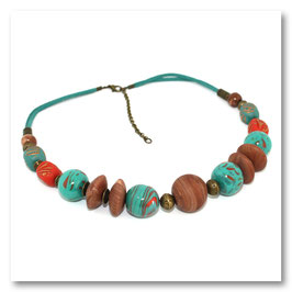 Collier Boules Turquoise, Corail & Bois