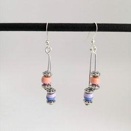 Boucles Rondelles Bleu & Rose