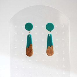 Boucles Pendants Turquoise & Bois