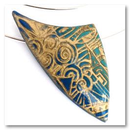 Collier Ellipse Flèche Bleu & Or