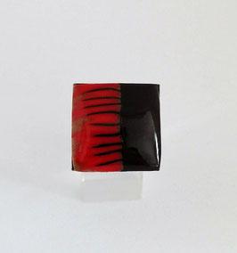 Bague Carrée Noir & Rouge