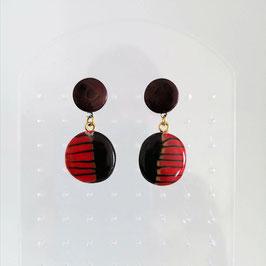 Boucles Pastilles Rouge & Noir