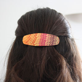 Barrette Ovale Rouge & Orange