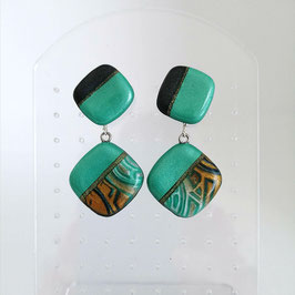 Boucles Losanges Turquoise & Cuivre