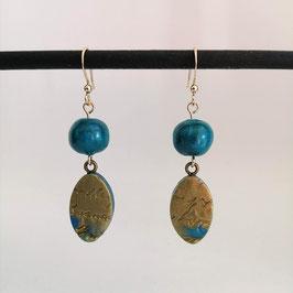 Boucles Perles Bleu & Or