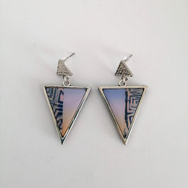 Boucles Triangles Bleu & Rose