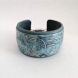 Bracelet Manchette Bleu & Gris