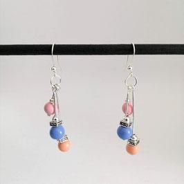 Boucles Perles Bleu & Rose