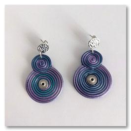 Boucles Spirales Violet & Argent