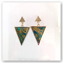 Boucles Triangles Bleu & Or