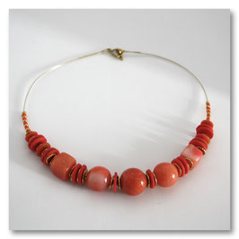 Collier Boules Corail & Or