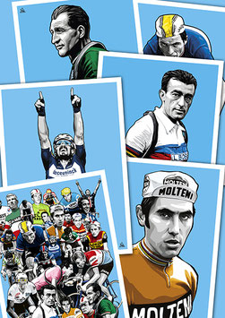 "PACK COLLECTION 20 Cartes postales ""LÉGENDES DU CYCLISME"""""