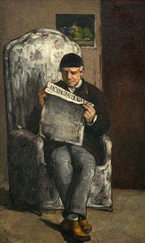 Porträt des Louis-Auguste Cézanne beim Lesen, auf Posterpapier
