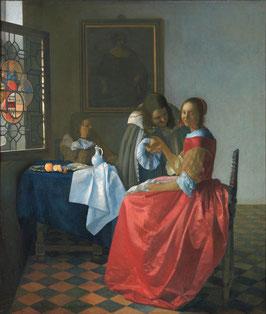 Das Mädchen mit dem Weinglas - Vermeer, auf Aluminiumverbund