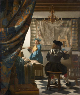 Die Malkunst - Vermeer, auf Aluminiumverbund