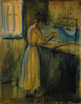 Junges Mädchen beim Waschen, auf Posterpapier