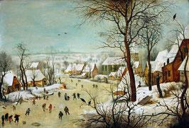 Winterlandschaft mit Eisläufern und Vogelfalle, auf Posterpapier