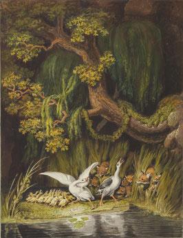 Gänsefamilie und Fuchsfamilie, auf Leinwand