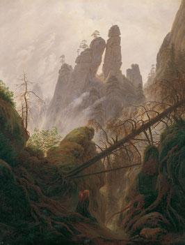 Felsenlandschaft im Elbsandsteingebirge, auf Aluminiumverbund