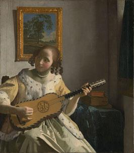 Die Gitarrespielerin - Vermeer, auf Aluminiumverbund