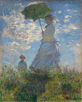 Frau mit Sonnenschirm - Madame Monet und ihr Sohn, auf Aluminiumverbund