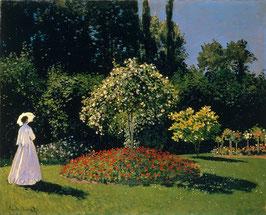 Frau im Garten, auf Aluminiumverbund