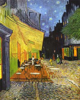 Caféterrasse bei Nacht, auf Leinwand