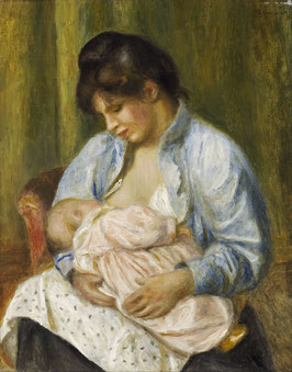 Eine Frau stillt ein Kind, auf Posterpapier