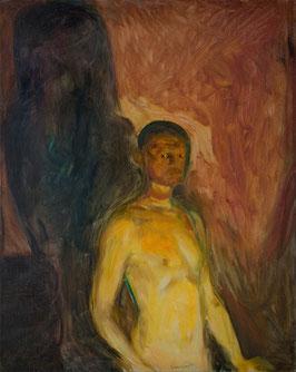 Selbstporträt in der Hölle, auf Leinwand