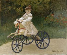Jean Monet auf einem Spielzeugpferd, auf Aluminiumverbund
