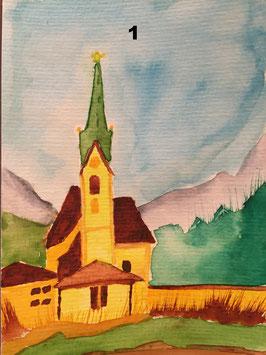 Kirchen - Hochglanzphoto auf Klappkarte C6 -zahle 5, erhalte 6- in verschiedenen Farben inkl. passendem Umschlag, cellophaniert