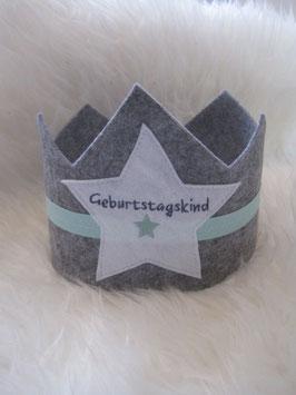 6/ Geburtskrone mint grau
