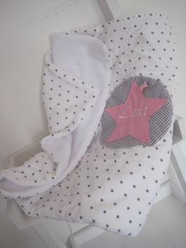 25/ Babykuscheldecke incl Namen grau/weiß rosa