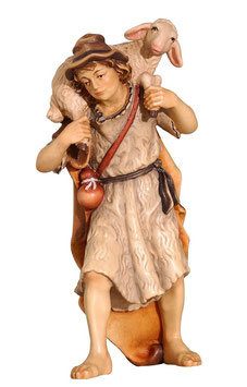 Statua pastore con pecora in spalla in legno