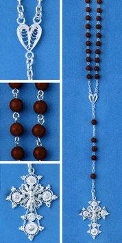Rosario in argento e corallo rosso mod. 318C