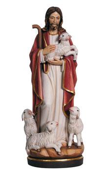 Statua Gesù buon pastore in legno