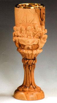 Calice in legno d' ulivo con ultima cena scolpita mod. 12117