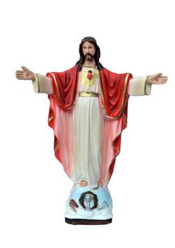 Statua Sacro Cuore di Gesù braccia aperte cm. 30