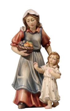 Statua donna con bambina in legno