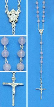 Rosario in argento e quarzo rosa mod. 716