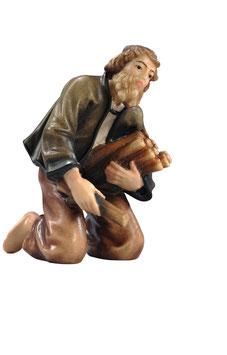 Statua pastore inginocchiato con legna in legno