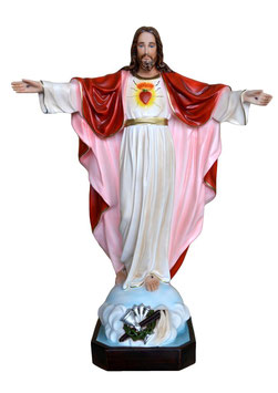 Statua Sacro Cuore di Gesù con braccia aperte cm. 85 in vetroresina