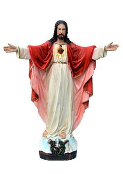 Statua Sacro Cuore di Gesù con braccia aperte cm. 65 in resina