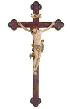 Statua Gesù crocifisso  in legno da parete su croce oro barocca