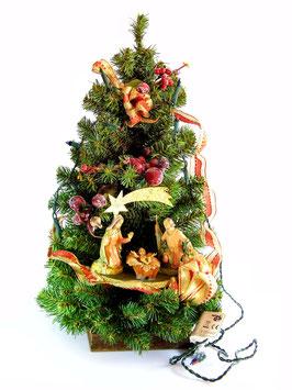 Albero di Natale con statue Natività modello Smeraldo